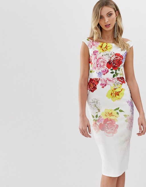 Image 1 of True Violet exclusive off shoulder bodycon dress in faded floral print