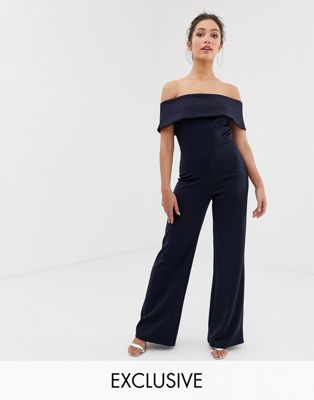 Image 1 of True Violet exclusive off the shoulder jumpsuit in navy