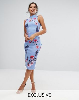 True Violet High Neck Pencil Dress with Mandarin Collar and Bow Back