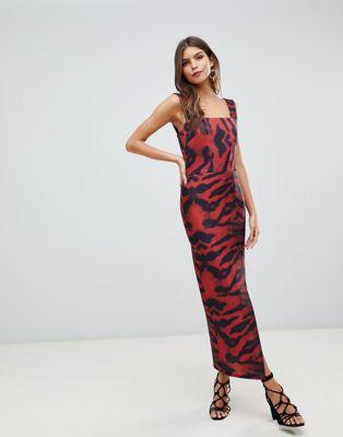 True Violet - Midaxi boycon-jurk met tijgerprint