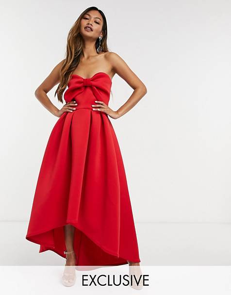 True Violet oversized bow high/low midi dress in red