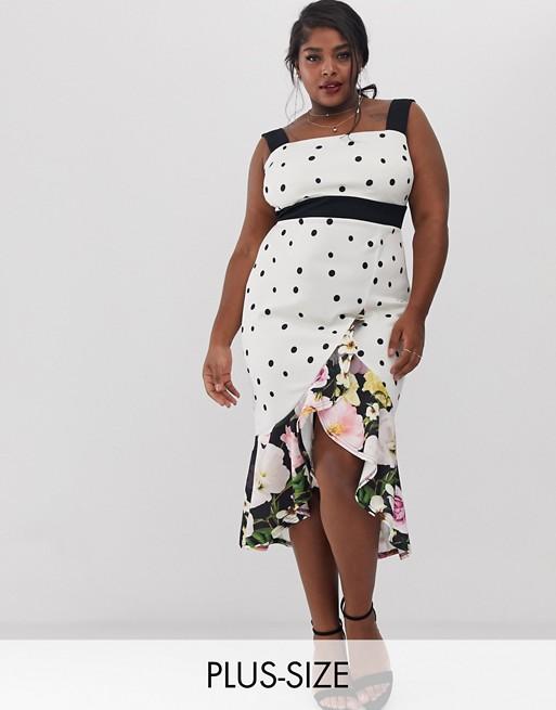 True Violet Plus - Exclusivité - Robe mi-longue à fleurs et franges avec encolure carrée