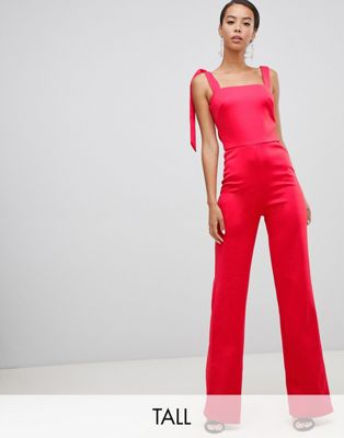 True Violet Tall tie shoulder jumpsuit