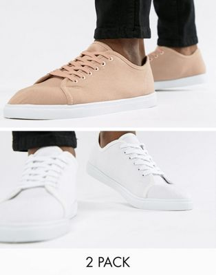 Truffle Collection 2 Pack Lace Up Plimsolls