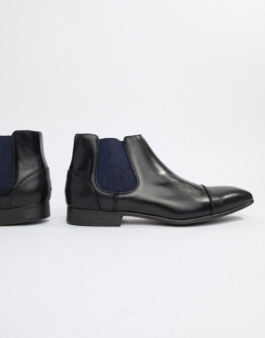 Truffle Collection - Bottines Chelsea à détail motif cachemire - Noir