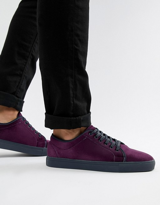 Truffle Collection Velvet Sneaker in Purple