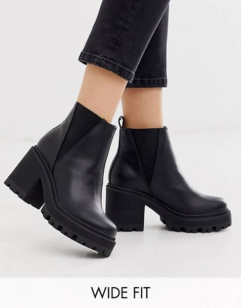 Truffle Collection wide fit chunky heeled chelsea boots in black