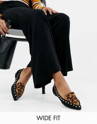 Туфли для широкой стопы на плоской подошве с леопардовым принтом Lost Ink