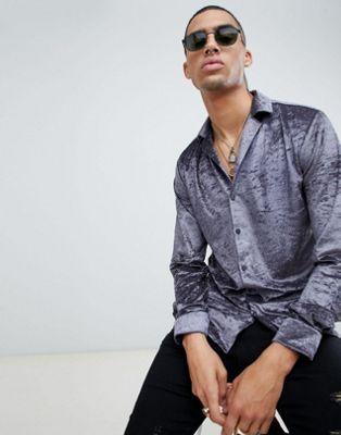 Twisted Tailor - Chemise ajustée - Velours frappé gris