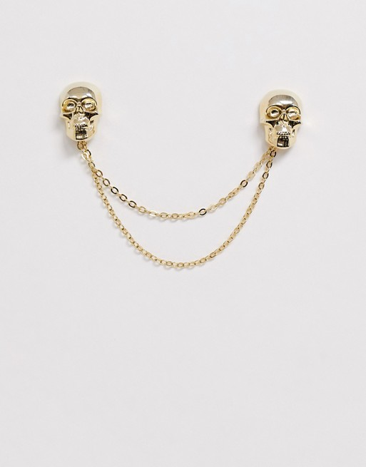 Twisted Tailor Collar Chain With Skull In Gold by Twisted Tailor