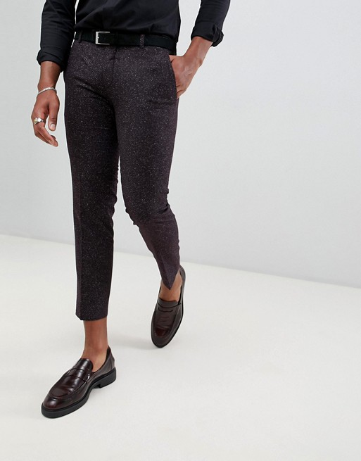 Image 1 of Twisted Tailor cropped skinny fit pants in burgundy fleck