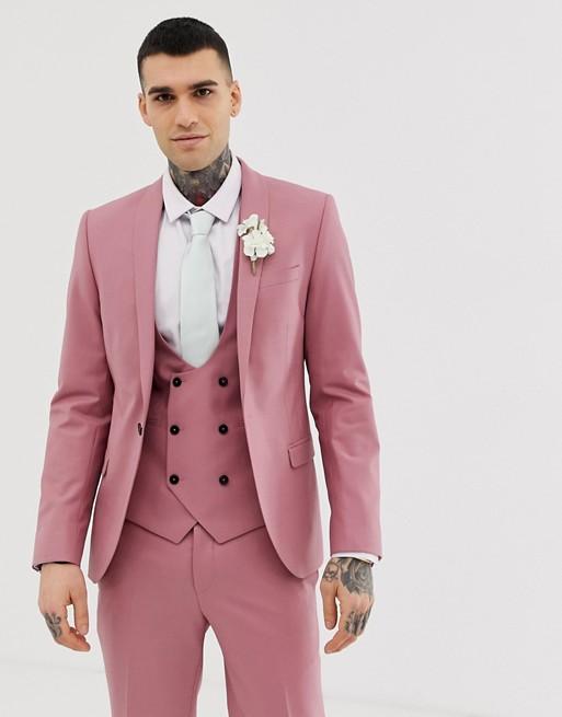 Twisted Tailor – Ellroy – Rosa kavaj med supersmal passform, del av kostym