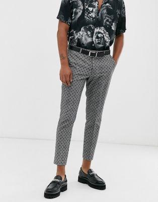 Twisted Tailor - Geruite smaltoelopende broek met cropped pijpen in zwart