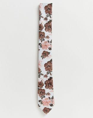 Twisted Tailor - Gestreepte stropdas met bloemenprint