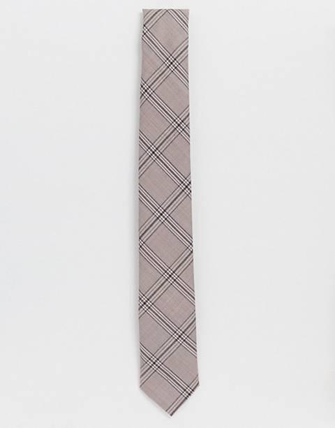 Twisted Tailor – Karierte Krawatte in Kamel