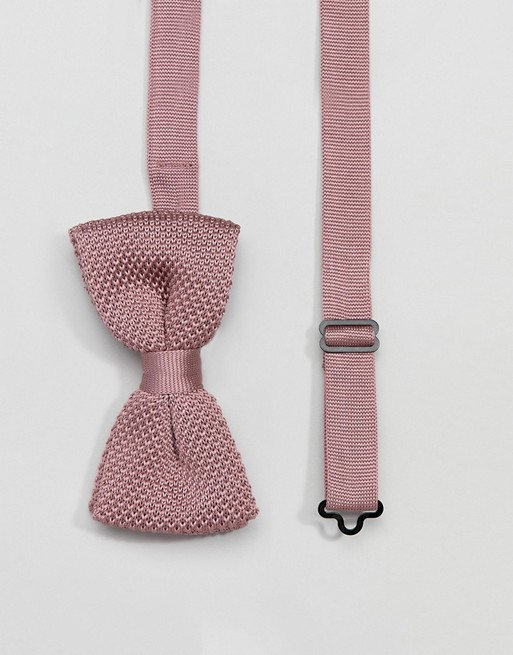 Image 1 of Twisted Tailor knitted bow tie in dusty pink