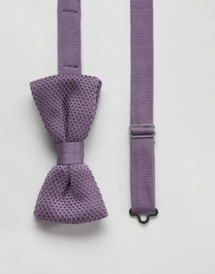 Image 1 of Twisted Tailor knitted bow tie in purple