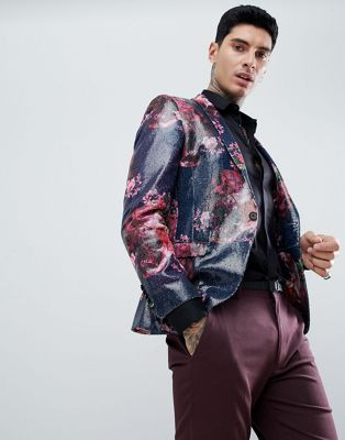 Twisted Tailor Super Skinny Blazer In Pink Printed Sequin