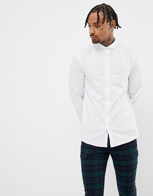 Image 1 of Twisted Tailor super skinny fit shirt in white in curved collar