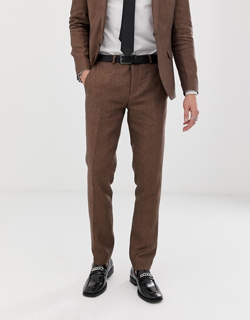 Image 1 of Twisted Tailor super skinny linen suit pants in brown