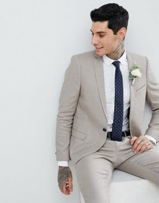 Twisted Tailor Super Skinny Suit Jacket In Stone Linen