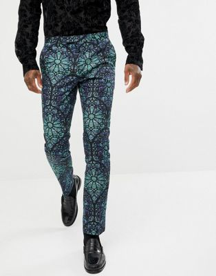 Image 1 of Twisted Tailor super skinny suit trouser with geo print in green