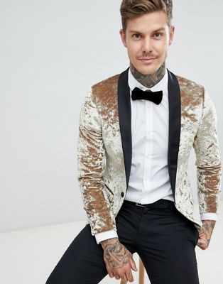 Twisted Tailor super skinny tuxedo blazer in gold crushed velvet