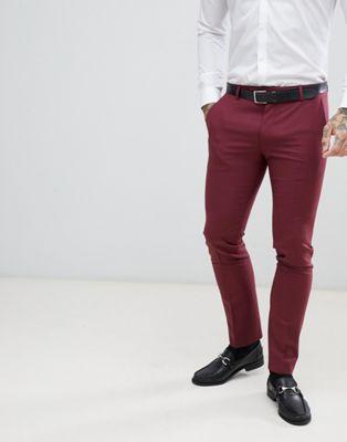 Bild 1 von Twisted Tailor – Superenge Anzughose in Burgund