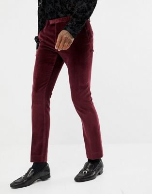 Afbeelding 1 van Twisted Tailor - Superskinny fluwelen pantalon in bordeauxrood