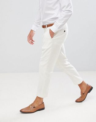 Twisted Tailor tapered trouser in cream linen