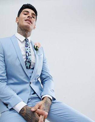 Twisted Tailor Wedding Super Skinny Suit Jacket In Light Blue