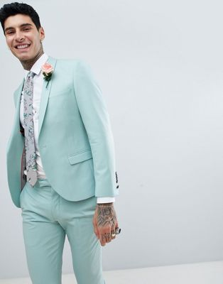 Image 1 of Twisted Tailor wedding super skinny suit jacket in light green