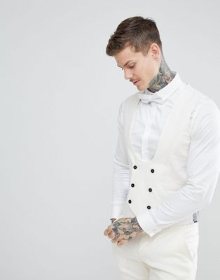 Twisted Tailor Wedding Super Skinny Waistcoat In Cream Linen