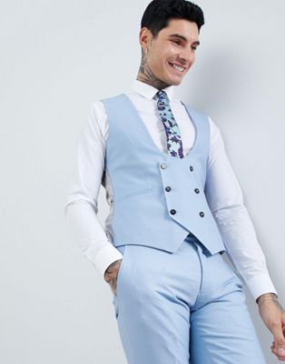 Twisted Tailor Wedding Super Skinny Waistcoat In Light Blue