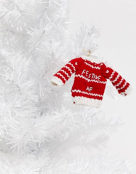 Typo festive AF jumper Christmas decoration