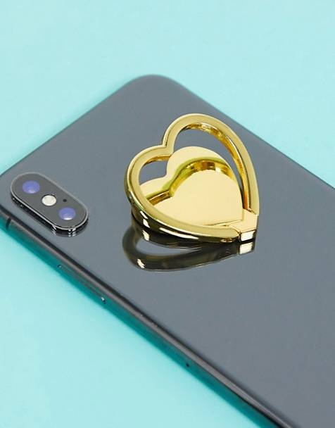 Typo heart phone ring in gold metal