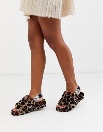 Ugg Fluff Yeah slide slippers in leopard
