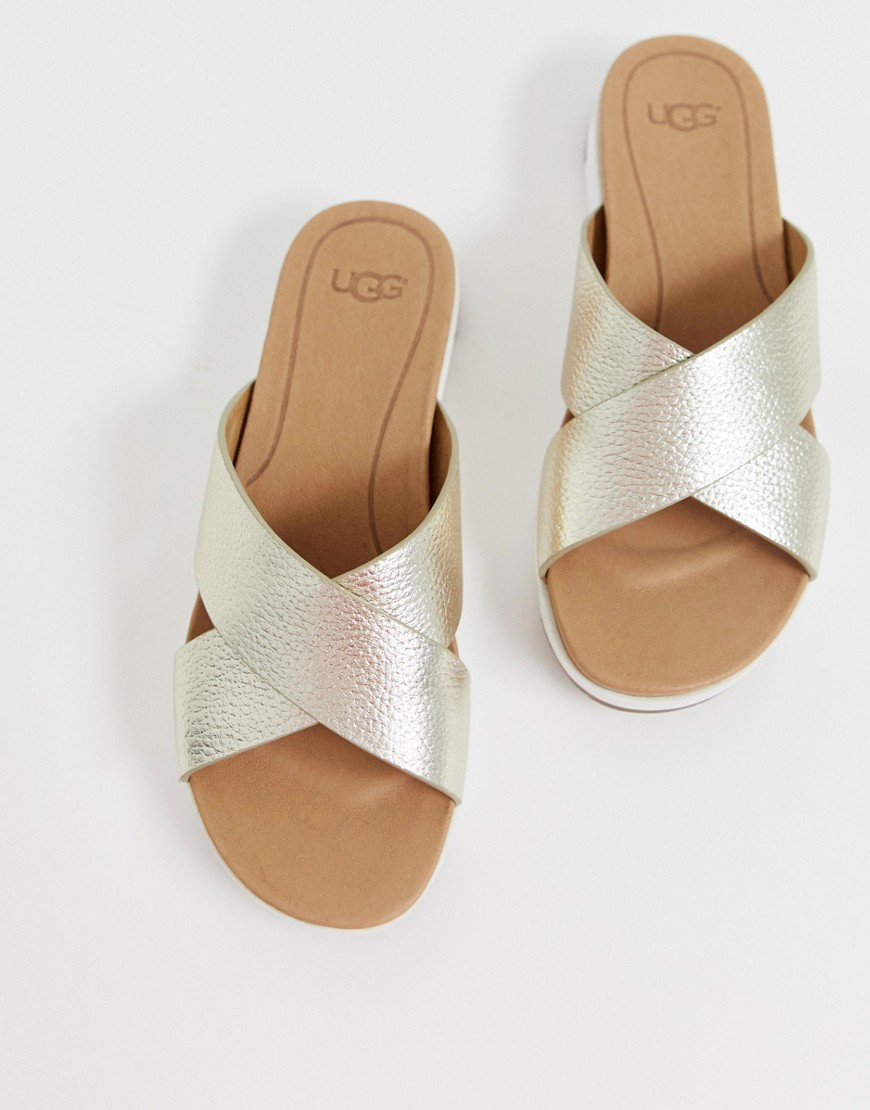 Sandals by UGG Sweet looks from the ground up Slip-on style Metallic finish Open toe Chunky sole
