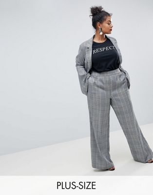 Image 1 of Unique 21 Hero Plus High Waist Trousers In Prince Of Wales Check Co-Ord