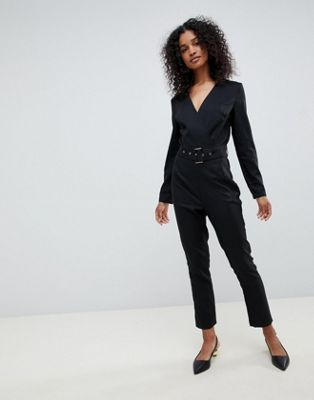 Unique 21 long sleeve wrap jumpsuit