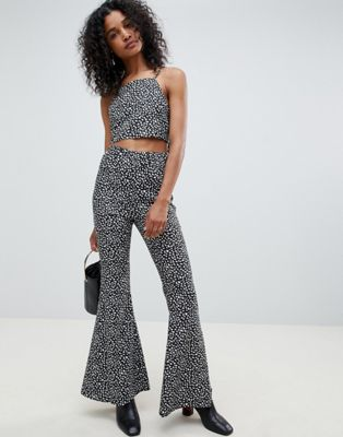 Image 1 of Unique 21 print high waist jersey flare pants