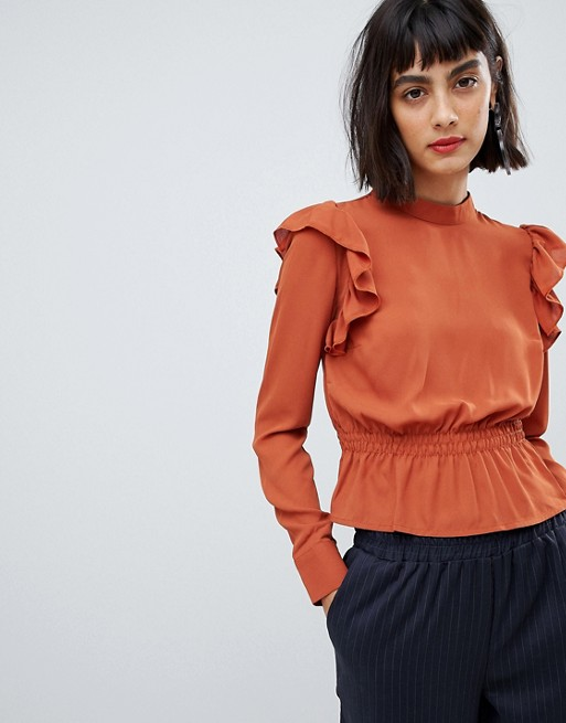 Unique 21 ruffle detail top