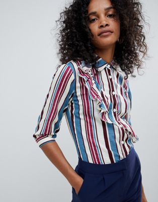 Image 1 of Unique 21 stripe 3/4 sleeve shirt with frill