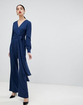 Unique 21 tie front long sleeve jumpsuit