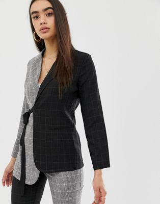 Image 1 of UNIQUE21 contrast blazer in contrast panel two-piece