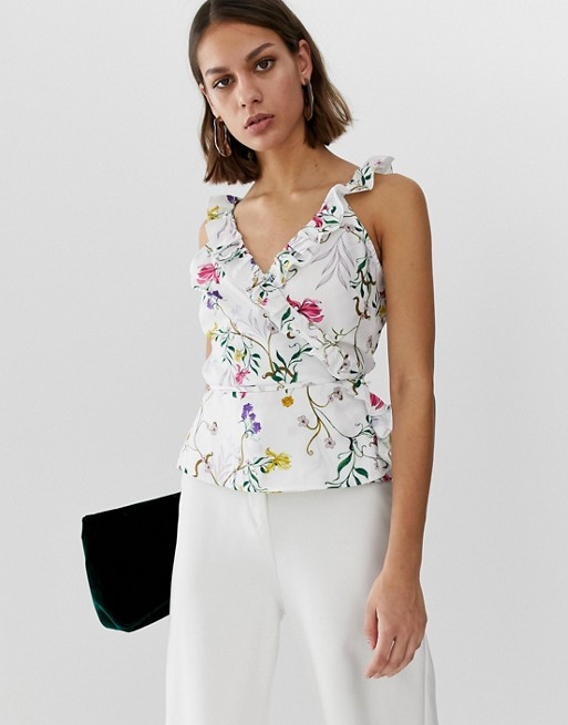 Unique21 floral sleeveless wrap top