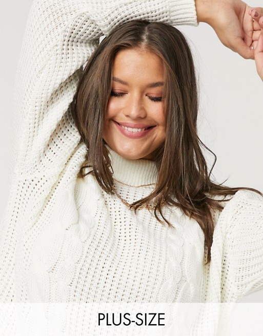 Unique21 Hero chunky cable knit jumper in white