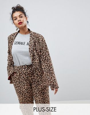 Image 1 of UNIQUE21 Hero Plus Boyfriend Fit Blazer In Leopard Print Two-Piece