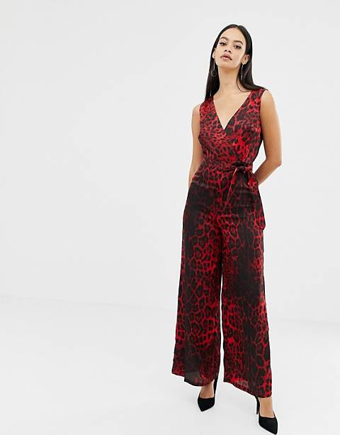 Unique21 red leopard print v neck jumpsuit with tie belt