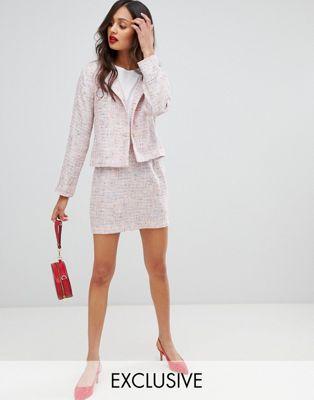 UNIQUE21 super mini skirt in tweed two-piece